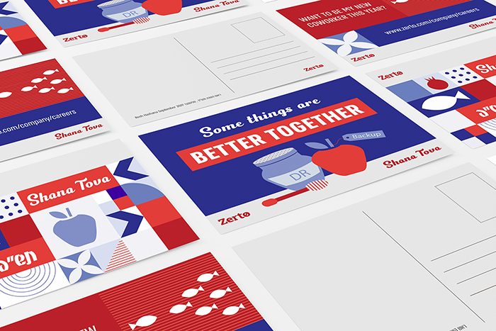 עיצוב אגרות ראש השנה, כנס חברה, מיתוג לכנס, עיצוב פרינט, דפוס, גלויות, חברת זרטו